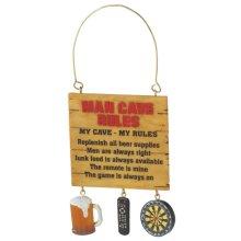 """Man Cave Rules"" Sign Ornament."
