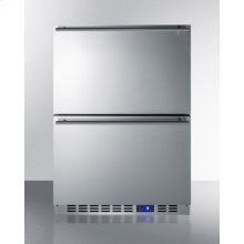 Two-drawer outdoor frost-free all-freezer in stainless steel, commercially listed for built-in or freestanding use