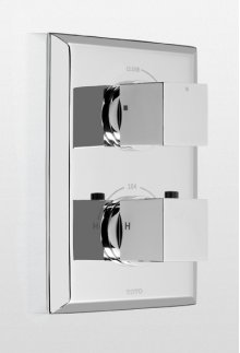 Brushed Nickel Lloyd® Thermostatic Mixing Valve Trim with Single Volume Control