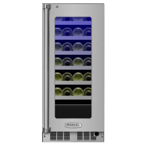 "Marvel Professional 15"" High Efficiency Single Zone Wine Refrigerator - Stainless Frame, Glass Door With Lock - Integrated Right Hinge, Professional Handle"