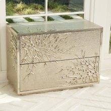 Flower Burst Two-Drawer Cabinet-Silver