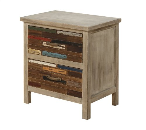 Emerald Home Pablo Pinewood End Table With 2 Multi-colored Drawers-t313-01