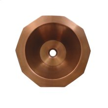 """Copperhaus decagon-shaped above mount basin with a smooth texture and a 1 1/2"""" center drain."""