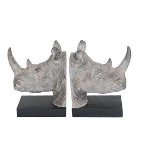 S/2 Resin Rhino Head Bookends