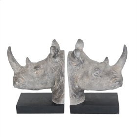 S/2 Resin Rhino Head Bookends