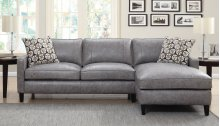 "Alder Left Arm Loveseat, Dark Grey, 69""x36""x36"" w/One Pillow"