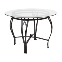 Syracuse 42'' Round Glass Dining Table with Black Metal Frame