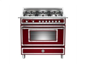36 6-Burner, Gas Oven Matt Burgundy