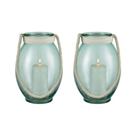 """Laguna Gulf Green 13"""" Set of 2 Glass and Natural Rope Round Candle Holders"""
