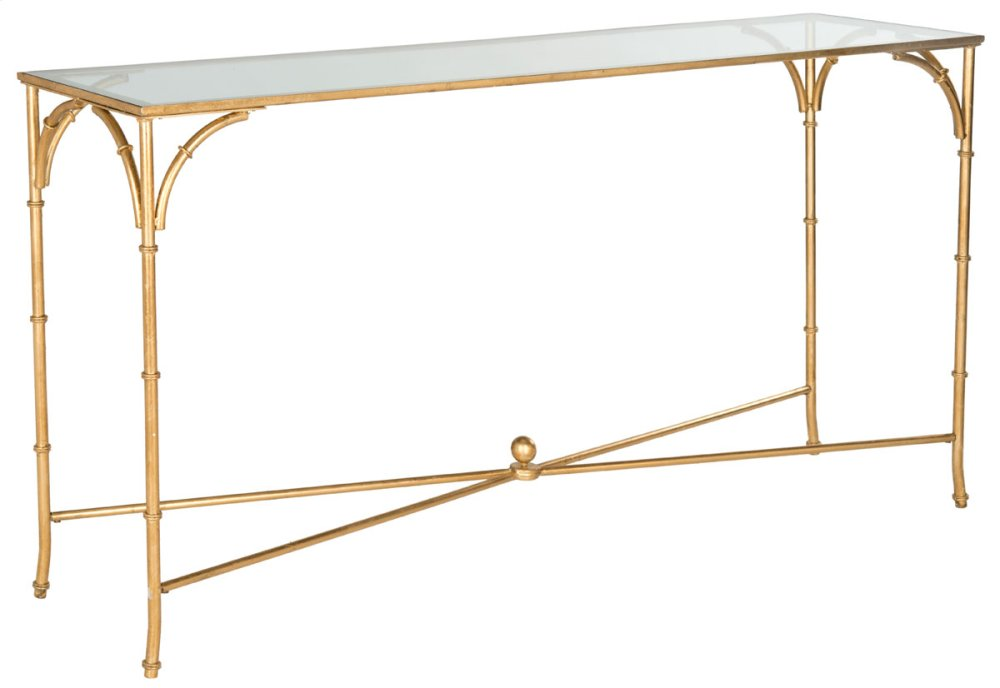 Maurice Console - Gold / Tempered Glass Top