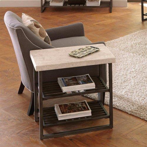 Capri - Chairside Table - Alabaster Travertine Finish