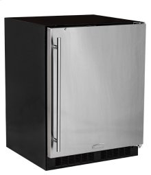 "24"" ADA Height All Refrigerator with Door Storage - Smooth Black Door with Lock - Left Hinge"