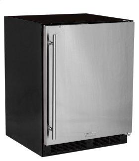 "24"" ADA Height All Refrigerator with Door Storage - Smooth Black Door with Lock - Right Hinge"