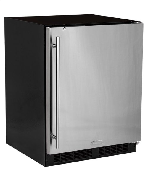 "24"" ADA Height All Refrigerator with Door Storage - Solid Stainless Steel Door with Lock - Right Hinge"