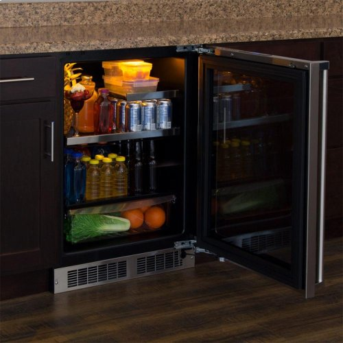 "24"" Beverage Refrigerator with Drawer - Stainless Frame, Glass Door With Lock - Integrated Left Hinge, Professional Handle"