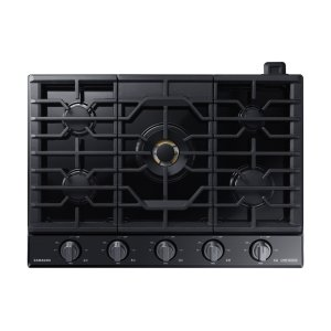 "Samsung Appliances30"" Chef Collection Gas Cooktop with 22K BTU Dual Power Burner in Matte Black Stainless Steel"