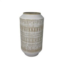 """Ceramic 13.75"""" Tribal Look Vase, Beige"""