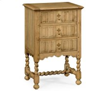 Natural oak Linenfold bedside chest