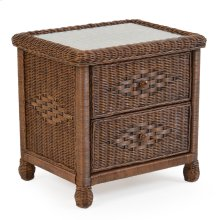 Wicker 2 Drawer Nightstand Coffee Bean 3702