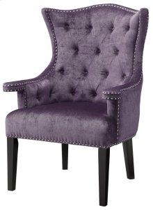 Fifth Avenue Upholstered Eggplant Velvet Chair w/ Nailhead Trim