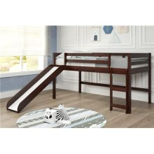 Pine Ridge Brown Low Loft Bed with Slide with options: Twin, With Slide