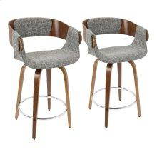 Elisa Counter Stool - Set Of 2 - Walnut Wood, Grey Noise Fabric, Chrome