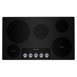 "Kitchenaid36"" Electric Cooktop with 5 Elements and Knob Controls - Black"
