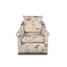SU-1593-93-854825  Birdscript Swivel Chair  Low Back  Rolled Arms  Nailhead Trim