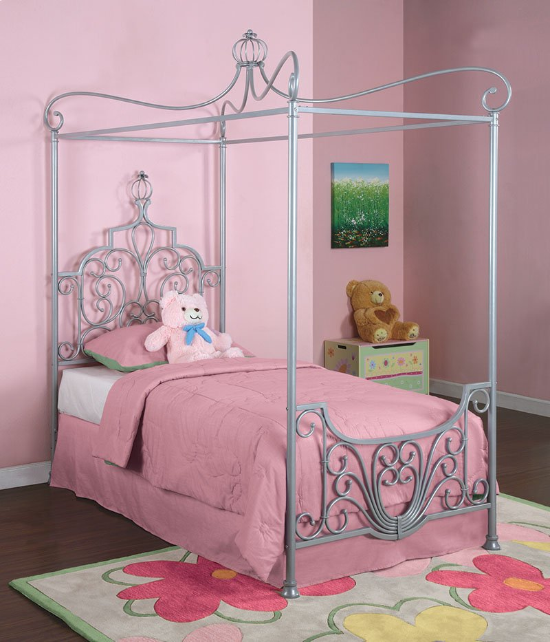 Princess Rebecca Sparkle Silver Canopy Twin Size Bed P01 Frame Sold Separately Hidden