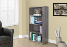 """BOOKCASE - 48""""H / DARK TAUPE WITH ADJUSTABLE SHELVES"""