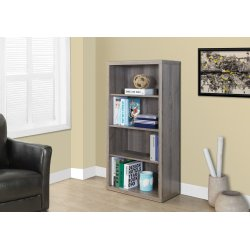"BOOKCASE - 48""H / DARK TAUPE WITH ADJUSTABLE SHELVES"