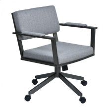 Armen Living Cairo Director Tilt Caster Swivel Arm Chair in Mineral Finish and Gray Fabric