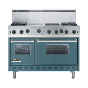 "Iridescent Blue 48"" Open Burner Range - VGIC (48"" wide, four burners 12"" wide griddle/simmer plate 12"" wide char-grill)"