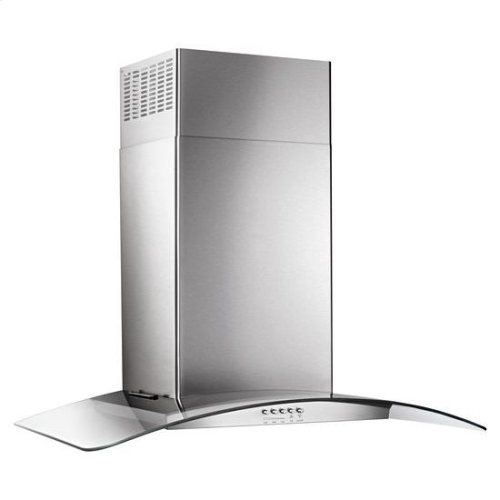 "30"" Concave Glass Wall Mount Range Hood - stainless steel"
