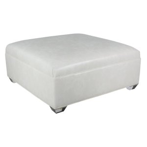 Square Ottoman With Seamed Button Top/ Tapered Leg