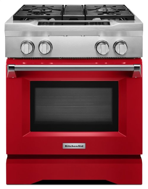 30'' 4-Burner Dual Fuel Freestanding Range, Commercial-Style - Signature Red