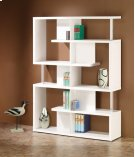 - Five tier double bookcase finished in white with chrome details- Constructed with steel, particle board, and engineered veneer- Also available in black (#800309) Product Image