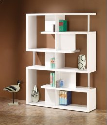 - Five tier double bookcase finished in white with chrome details- Constructed with steel, particle board, and engineered veneer- Also available in black (#800309)