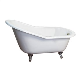 "Holloway Cast Iron Slipper Tub - 63"" White with 7"" Rim Holes - Polished Chrome"