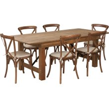 7' x 40'' Antique Rustic Folding Farm Table Set with 6 Cross Back Chairs and Cushions