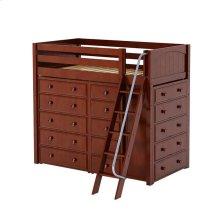 High Loft w/ Angle Ladder, 2 x5 Drawer Dressers & Narrow 5 Drawer Dresser : Twin : Chestnut : Panel