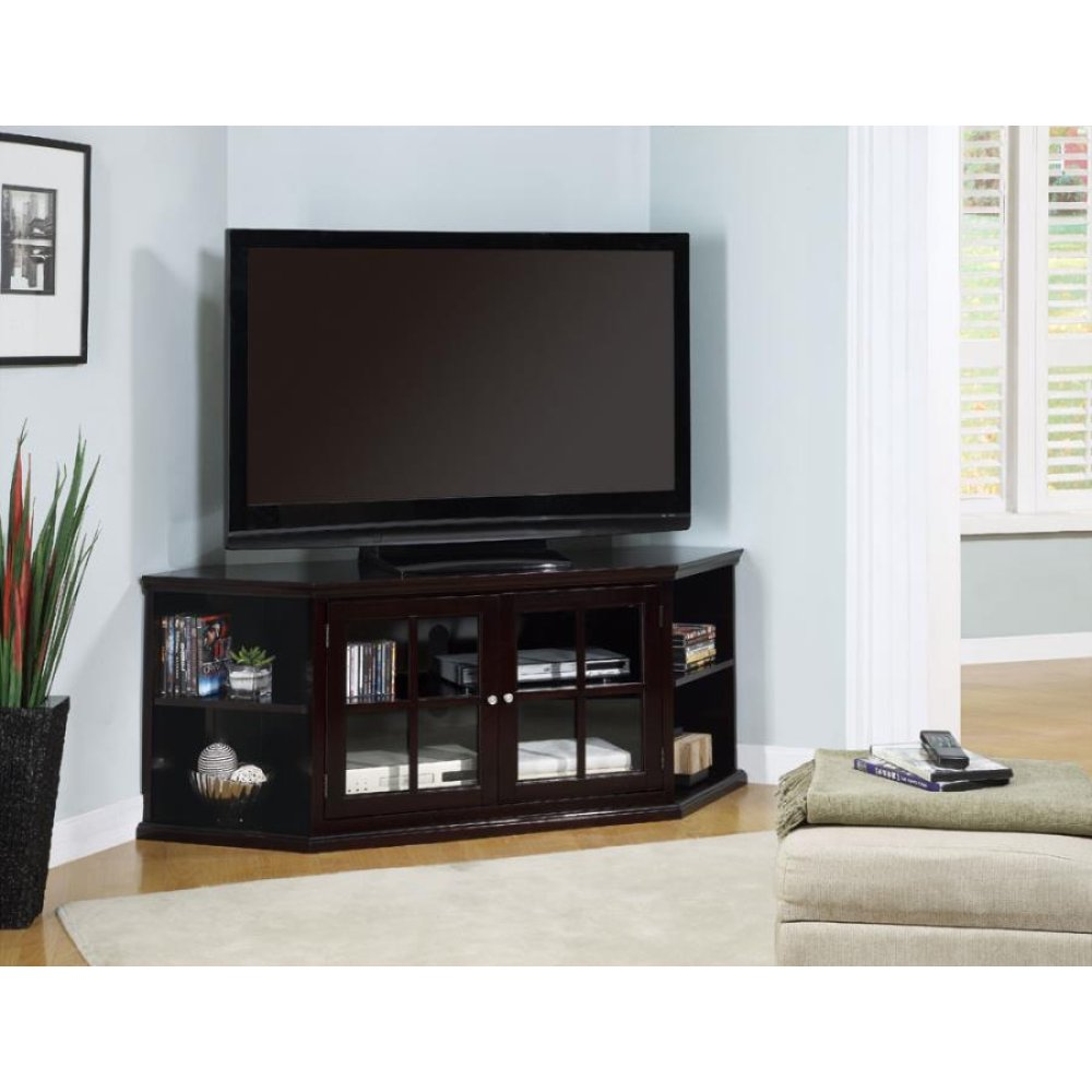 Casual Espresso Corner TV Console