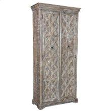 Bengal Manor Mango Wood Grey Wash Tall Patterened Cabinet