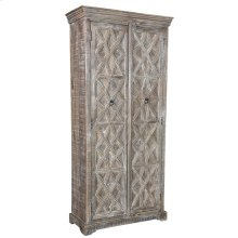 Bengal Manor Mango Wood Grey Wash Tall Patterened Cabinet