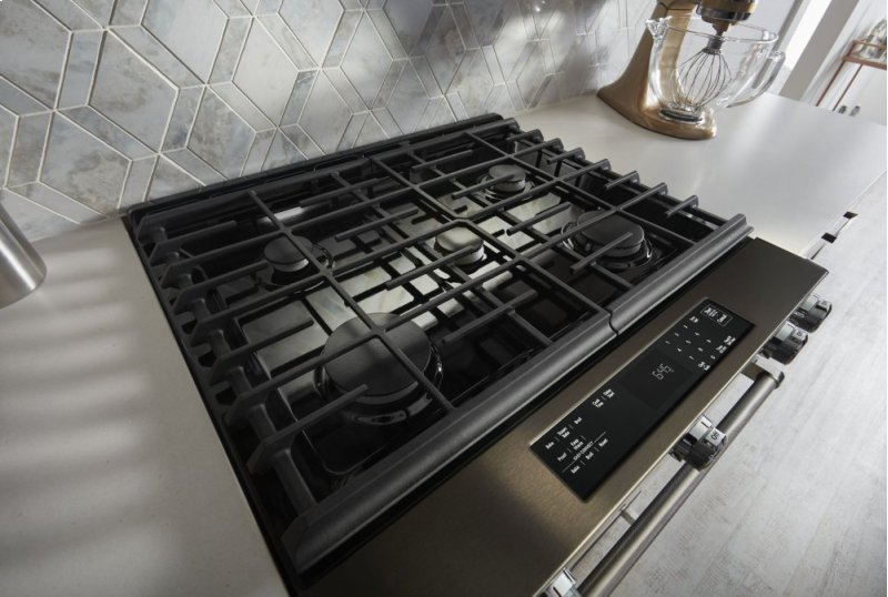 Hidden  C2 B Inch 5 Burner Gas Slide In Convection Range Black Stainless