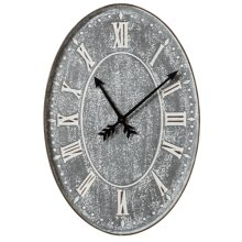 Washed Galvanized Oval Wall Clock.
