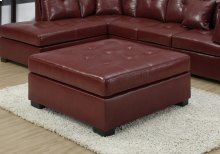 OTTOMAN - RED LEATHER-LOOK