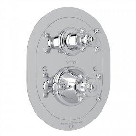 Polished Chrome Perrin & Rowe Georgian Era Oval Thermostatic Trim Plate With Volume Control with Georgian Era Cross Handle