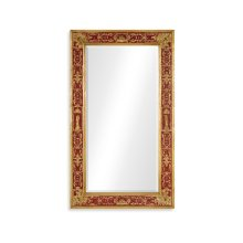 Rectangular Plain Mirror with Gilt Renaissance Decoration (Red)
