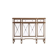 3 Drawer 4 Door Cabinet 48 in. x 14 in. x 36 in. Gold Clear